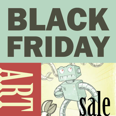 black friday, robot, support the arts, illustration, artwork, crafts